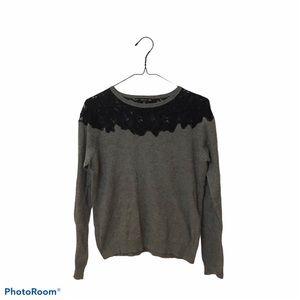 3/$30🌸 Zara Knit Sweater Grey Black lace Large